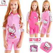 Hello Kitty sunscreen swimwear girls children swimsuit students children surf clothing girl baby Siamese swimsuit