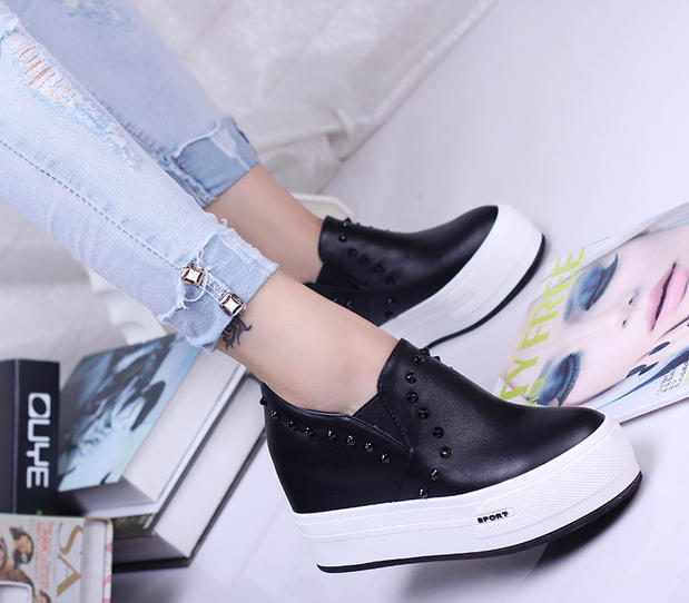 2015 new leather low help loafers leisure lazy shoe sponge increased within 8 cm thick bottom rivets women's shoes