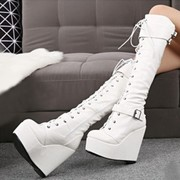 British style BIKER BOOTS female buckle boots black side slope with zipper head high-heeled boots Knee Boots