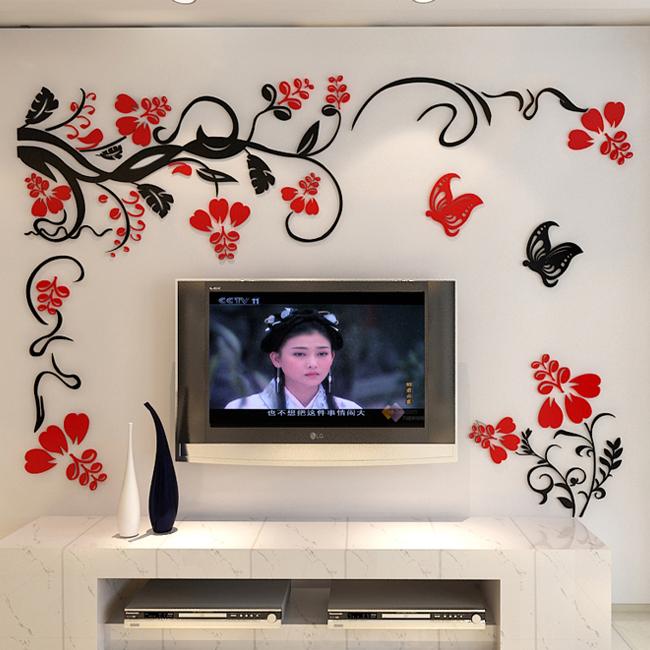 喜庆3d立体亚克力墙贴客厅沙发电视背景墙面装饰墙上壁画贴纸自粘