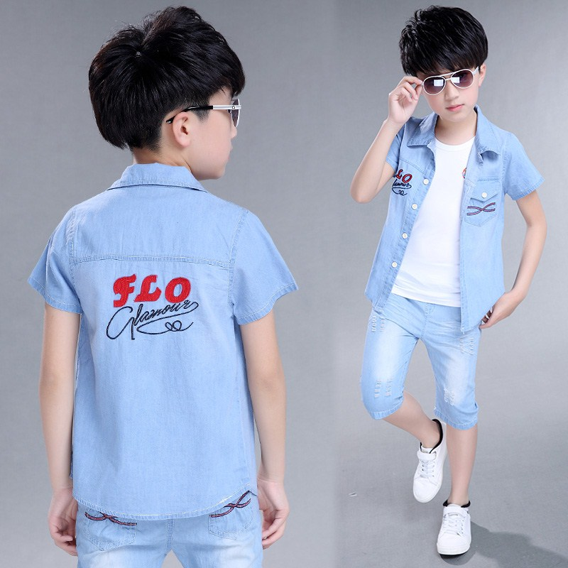 Boys' jeans set, summer pure cotton, thin cotton, summer short sleeve shirts, vest, children's primary school students three sets