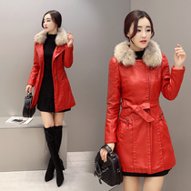 PU leather zipper long sleeve thickened 2016 winter coat cotton slim long Pocket solid colors