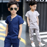 Kids Boys summer 2017 new 5 Korean wet clothes 13 years old 11 short sleeved summer children 6 children suit