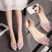 South Korea Baotou all-match simple bow sandals shoes transparent jelly shoes pointed female tramer documentary shoes