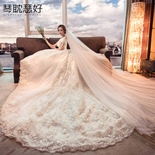 Wedding dress 2018 new bride shoulder Korean Slim was thin simple luxury long trailing pregnant women forest