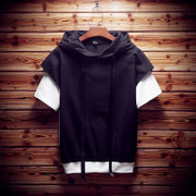 Two men's wear short sleeved summer vacation personality sweater men size loose hooded youth Metrosexual five sleeve T-shirt