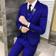 Suit men three piece suit slim business suits autumn groom groomsman wedding dress with occupation
