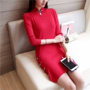 In the long winter sweater girl Bridesmaid toast dress cheongsam retro split long sleeved sweater slim backing