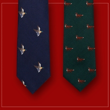 GIEVES CHARLES Italy imported silk embroidery hunting limited edition men tie 2 15% off