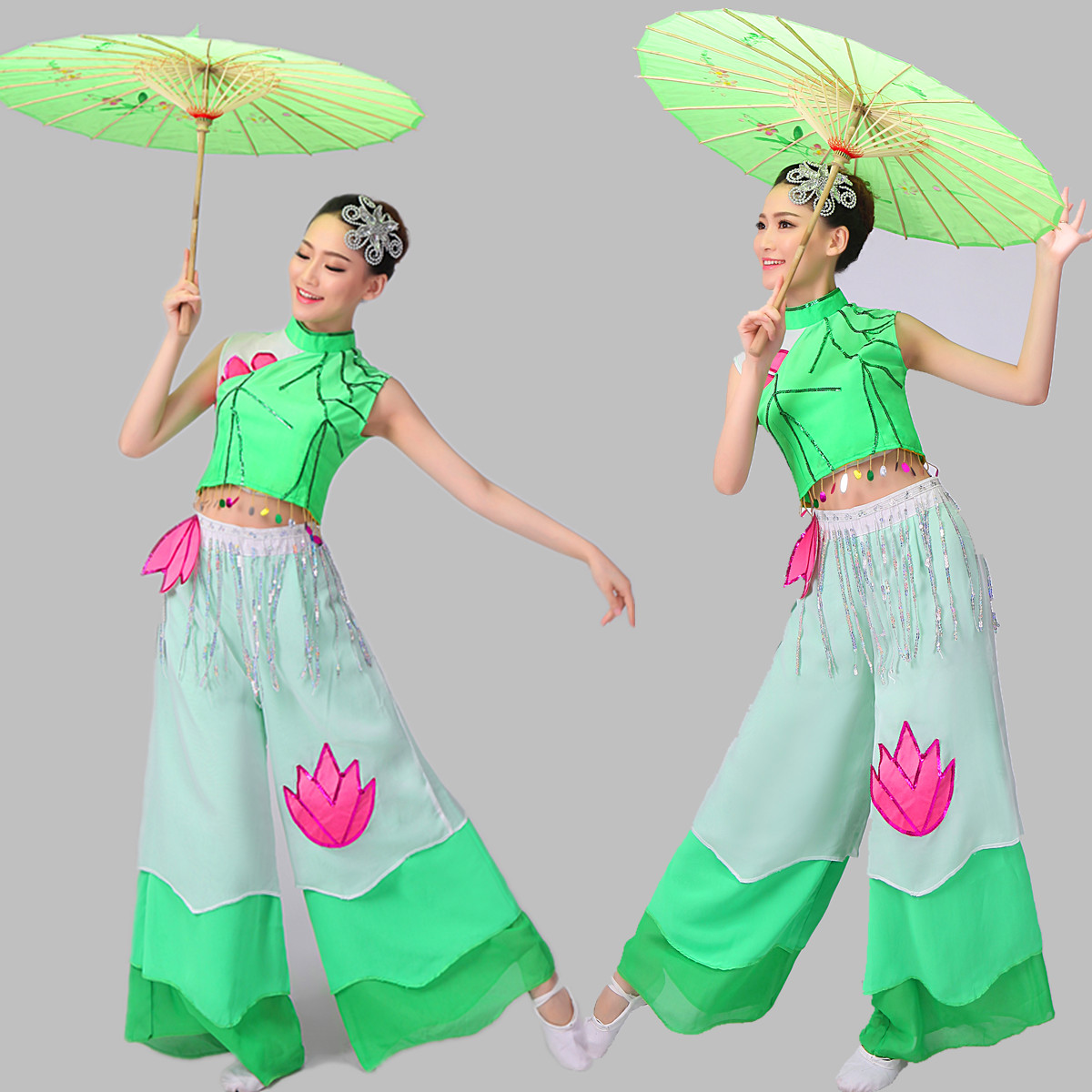 New classical Jiangnan performance clothing rain umbrella dance costumes, dance costume national fan stage Tango clothing specials