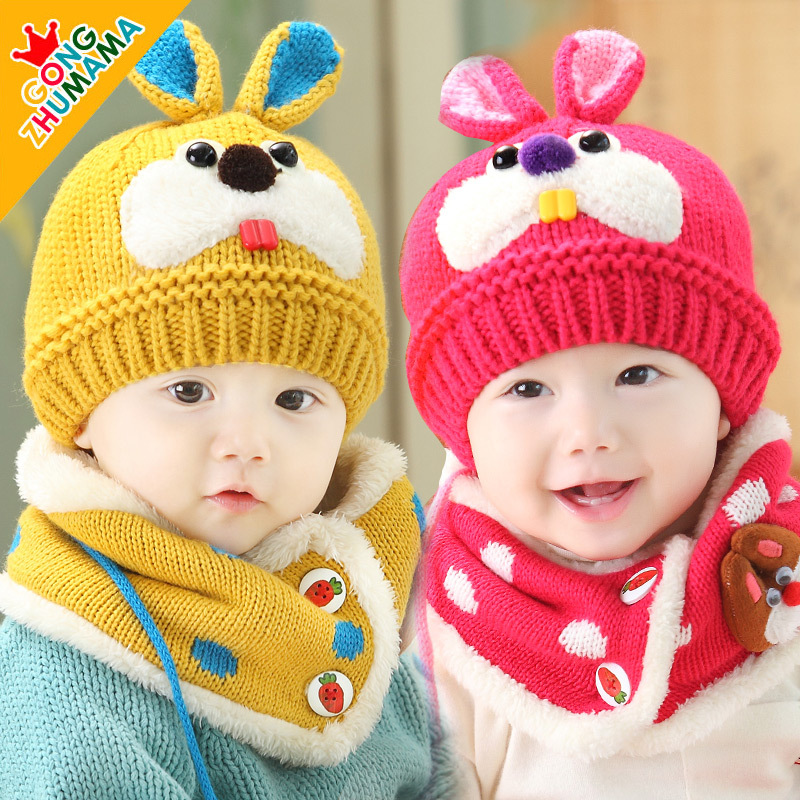 The new winter children rabbit wool hat collar two piece baby warm neck protecting plus velvet hat in winter