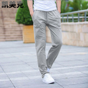 Spring and summer thin pants men long pants running loose knit cotton size straight tube necking leisure Wei pants