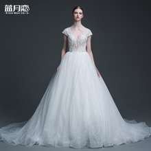 Blue love bride wedding dress shoulder deep V long tail hand strap pearl Qi Halter style 2017