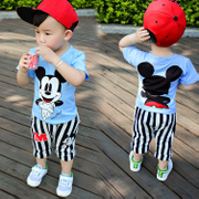 The 2017 summer children's wear short sleeved suit male baby boy summer children aged 1-3-45 in cotton two set