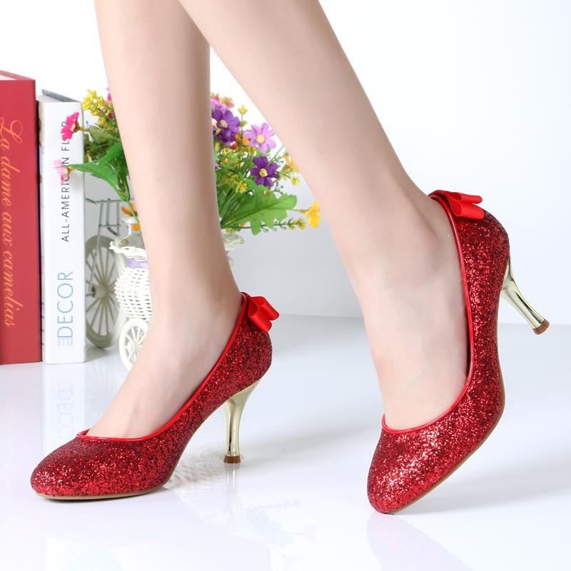 2015 gold wedding shoes Tata/her stiletto shoes high heel black red bride shining women's shoe size 32