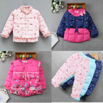 Authentic winter wear female clothes baby 0-1-2-3 old feather padded thin cotton Liner Jacket coat