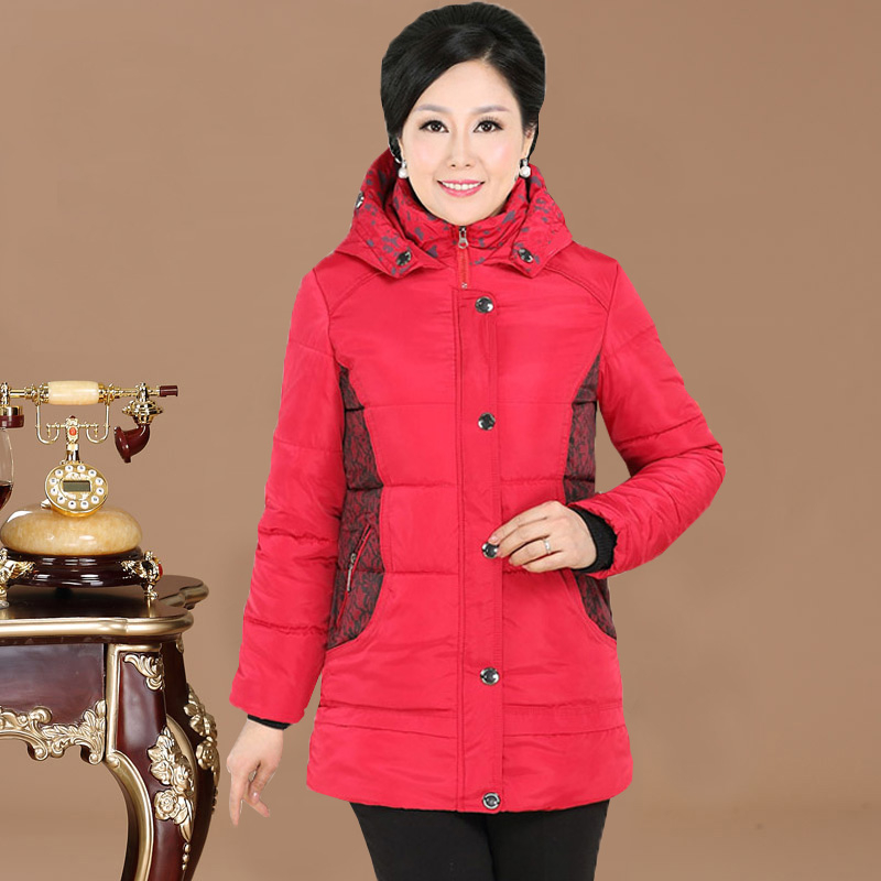 Middle-aged and old women's mother put winter feather mian mian clothes thickening cotton-padded clothes long winter jacket in middle-aged coat big yards