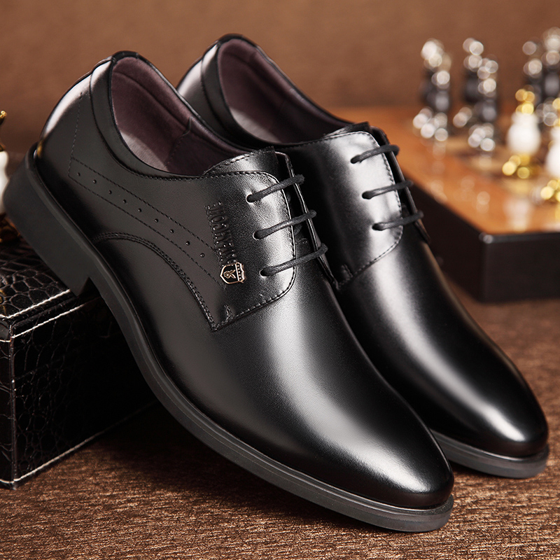 Stealth increases men's warm in autumn and winter plus fleece men's business dress shoes real leather pointed shoes men