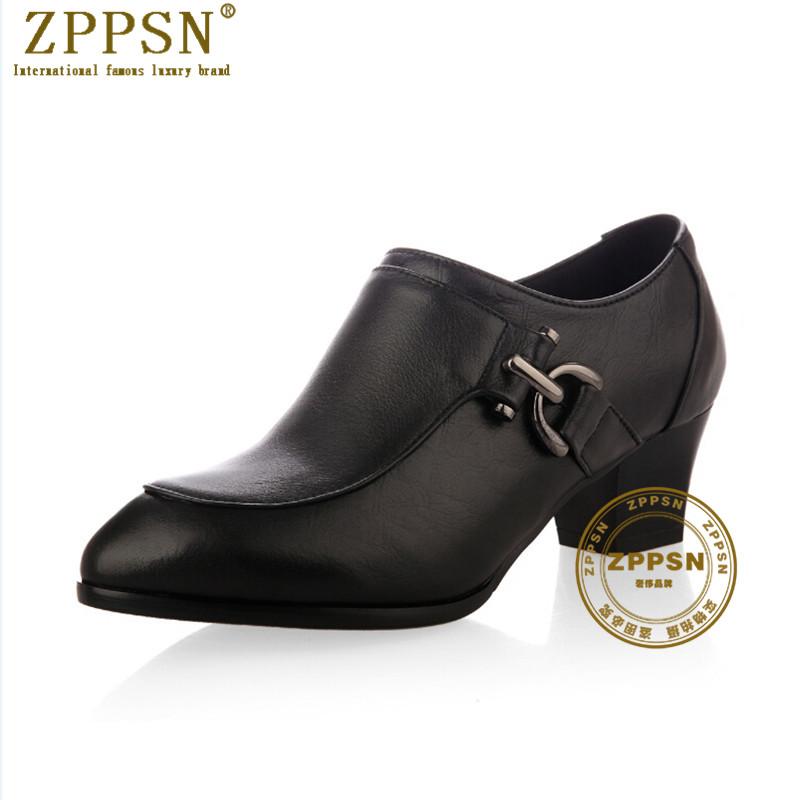奢侈品牌 ZPPSN 夏季新品韩版气质圆头深口拉链粗跟舒适高跟女鞋