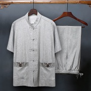 The elderly men's costume linen suit short sleeved summer dad 60-70-80 years old grandpa autumn clothes