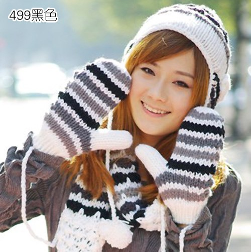 Clearance warm winter women's knitted wool scarf hat gloves set of three thick Plush hooded one