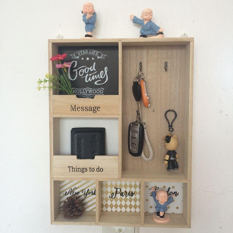 家用钥匙收纳盒 门口 壁挂式 玄关墙面家居装饰品挂钩杂货置物架
