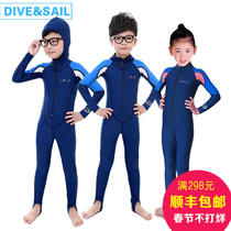 Childrens sunscreen long sleeve one-piece swimsuit girls boys children jellyfish clothing quick dry snorkel diving suits