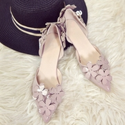 Korean all-match sweet thin tip single shoes heels 3cm hollow flowers with small fine shoes with low.