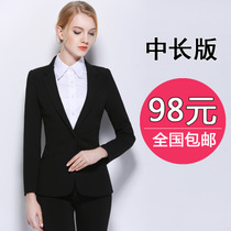 Ladies spring temperament interview for slim slimming black dress professional small suit long suit jacket