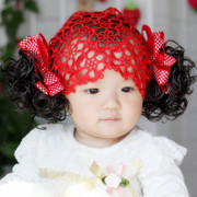 Baby baby girl hair headdress hundred days in spring and autumn fall hair nets baby wig hair band Butterfly Hair Band