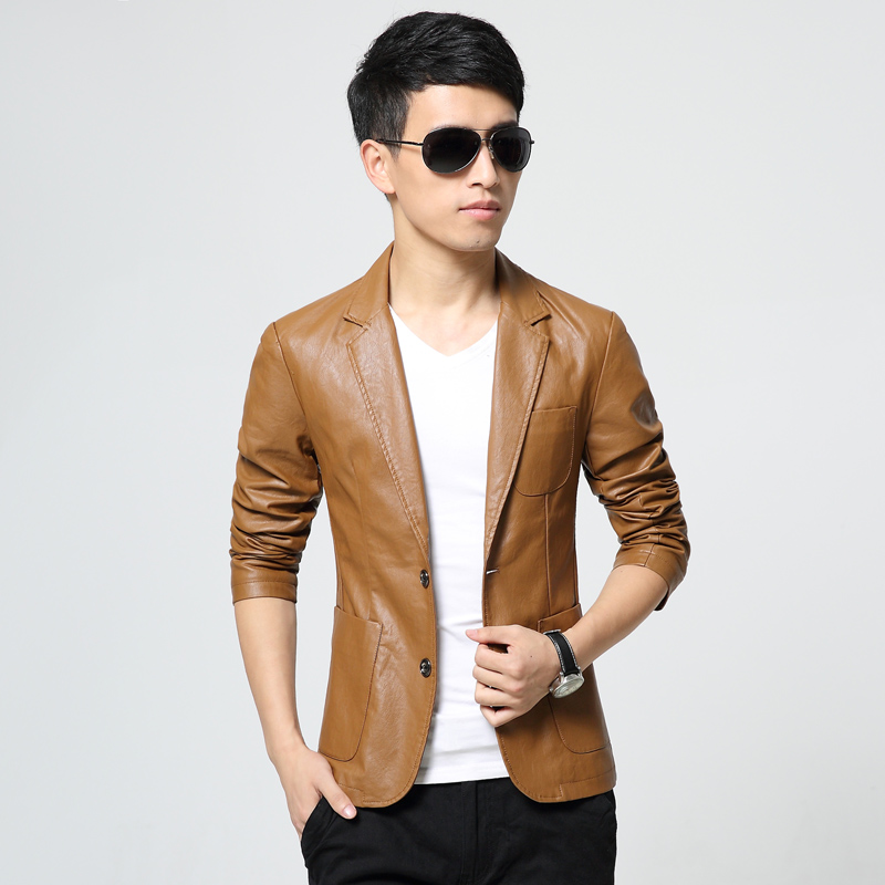 The fall of 2016 new men's PU washed leather suit small slits Korean leisure suit jacket thin