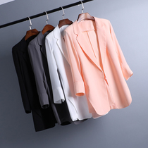 Korean version of the spring summer long thin small suit girls loose chiffon slim slim leisure suit jacket plus size