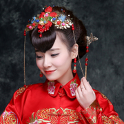 2016 Chinese retro red tassel wedding bride headdress ornaments suit costume cheongsam wedding flower in spring and summer