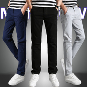 Spring man casual pants male youth slim feet summer slim all-match BOYS PANTS trend of Korean men