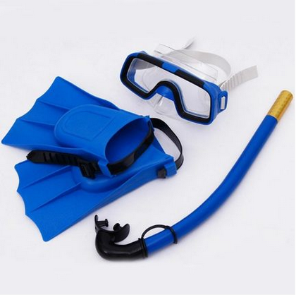 Floating diving triple gem swimming goggles boys and girls waterproof swimming goggles set breathing tube semi-dry type