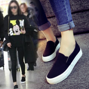 Spring flat casual canvas shoes shoes all-match white shoes with thick bottom slip-on pedal Korean student shoes