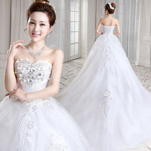 Korean minimalist white wedding dress lace bra bride and Qi long tailed 2017 summer new code
