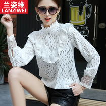 2017 spring new lace shirt high-neck long sleeve slim coat solid color t-shirt fashion Joker bottoming shirt