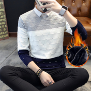 Students in winter two sets of false Korean men sweater shirt collar sweater cashmere sweater top youth with Dickie