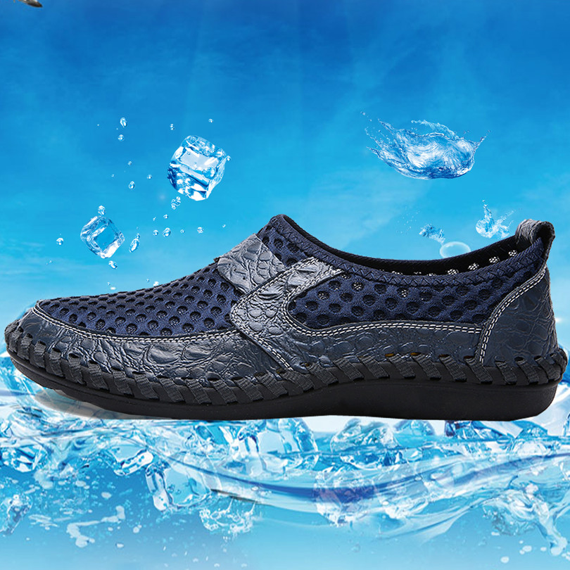 Summer mesh breathable shoes mens shoes slip-on net middle-aged dad sandals net surface mesh models of summer