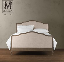 Mousse high-end custom furniture, American style village cloth double bed, French classical 1.51.8 meters, solid wood bed, RH95