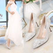 The new summer bride Shoes White Rhinestone Crystal shoe heels dress shoes with pointed with a fine autumn female wedding shoes