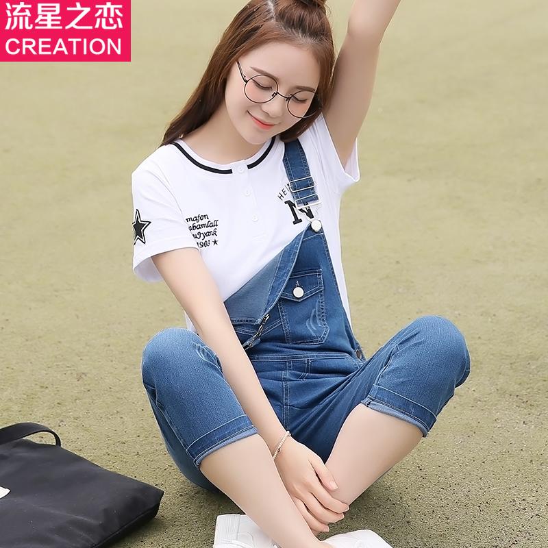 休闲显瘦连体裤夏季2017韩版新款学院风少女七分牛仔背带裤中学生