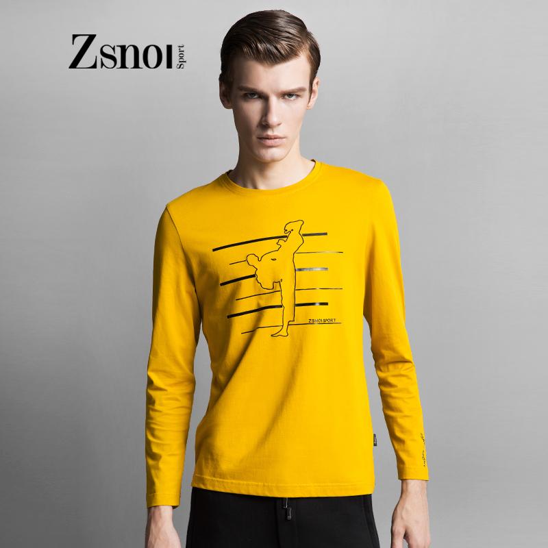 ZSNOI轻奢侈男装2015秋季新款丝光棉正品男士圆领印花长袖T恤潮牌