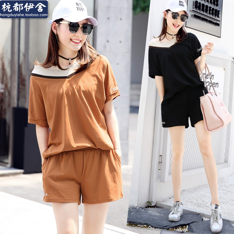 Summer V word knit knit stitching blouse, loose T-shirt, wide leg, wide leg shorts, elastic, simple and handsome, two sets of women