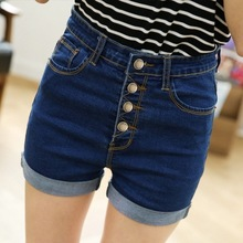 High waisted breasted curling denim shorts female summer thin loose all-match dark jeans shorts students tide
