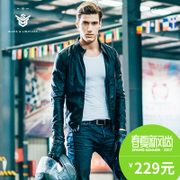 Spring Leather Slim male Korean handsome thin leather jacket coat sportswear clothing male locomotive short gown