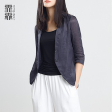 2018 spring, summer, thin, simple, casual, lady's suit, temperament, straight linen, small material, small suit, short coat, coat.