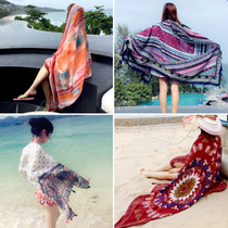 Summer Sun fall winter scarves desert by the sea folk style cotton linen shawl scarf scarf Lady dual-use beach towels