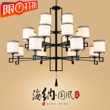 The new Chinese restaurant hall villa living room chandelier penthouse floor decoration retro iron three layer lighting lamps